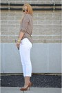 Camel-blouse-white-forever21-pants-bronze-heels