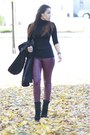 Black-vintage-coat-crimson-h-m-pants-black-forever-21-top