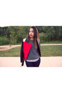 Navy-express-jeans-red-express-jacket-heather-gray-forever-21-sweater
