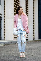 light pink Poppy Lovers blazer - white Zara bag - light blue Zara pants