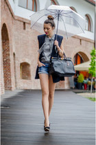 heather gray OASAP shirt - blue Bershka shorts - navy old vest