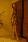 Purple-dress-beige-bershka-shoes