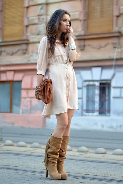 neutral Sheinside dress - beige Pusa Ciucle boots - brown Mango bag