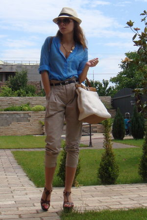 blue Zara shirt - brown il passo shoes - beige NewYorker hat