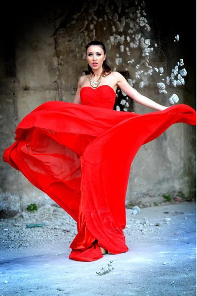 red Bridesmaiddressy dress - nude Sheinside pumps