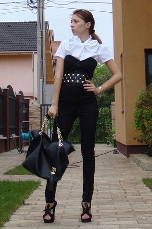 black custom made - white custom made shirt - black random brand - Mango belt -