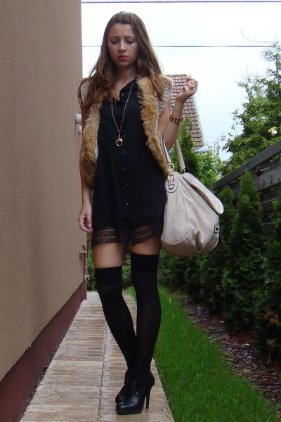 black custom made dress - beige random vest - black random socks - black BBup sh