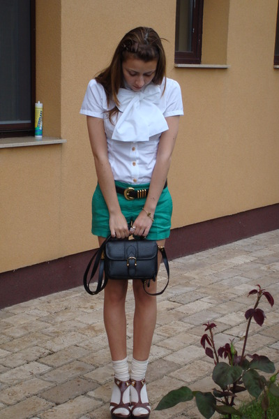 white custom made shirt - green Mango shorts - brown italian shoes - black vinta
