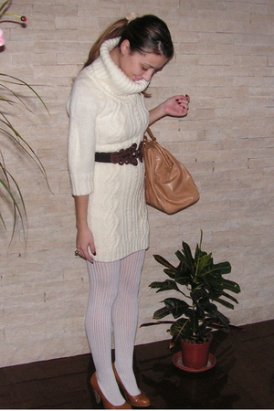 white Mango dress - white Takko stockings - brown self-made belt - beige random