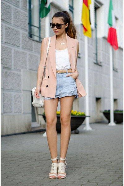 peach Front Row Shop vest - white Zara bag - sky blue DIY shorts