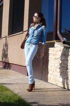 blue Zara shirt - blue Bershka jeans - beige self-madelf scarf - brown Mango acc