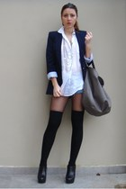 navy Zara blazer - black Zara shoes - white Zara shirt - gray Zara bag