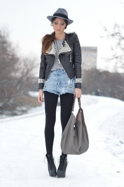black OASAP jacket - blue nowIStyle shorts