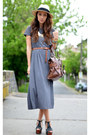Gray-nowistyle-dress-beige-h-m-hat-brown-mango-bag