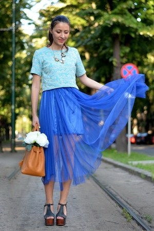 blue OASAP skirt - sky blue custom made top - black Jeffrey Campbell sandals