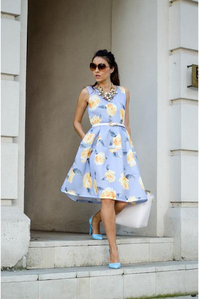 white H&M bag - sky blue Choies dress - white nissa necklace