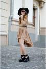 Black-lamoda-shoes-light-brown-miss-grey-dress-black-h-m-hat