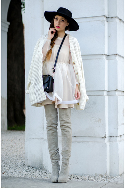 black H&M hat - heather gray Mono Shoes boots - white Chicwish dress