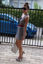 white custom made striped dress - red vintagr belt - white random brand shoes -