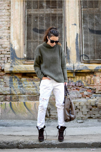 army green OASAP sweater - dark brown Zara boots - white kurtmann jeans