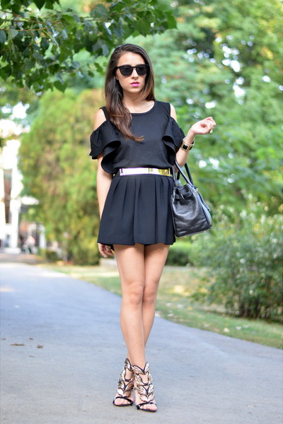 black Mango shorts - black nowIStyle top - gold OASAP heels