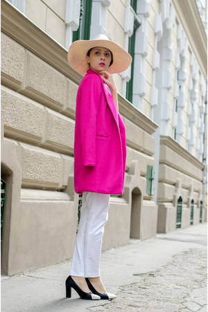 white Zara pants - hot pink OASAP coat