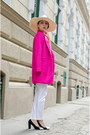 Hot-pink-oasap-coat-white-zara-pants