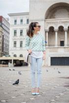 light blue OASAP sweater - periwinkle kurtmann bag - sky blue kurtmann pants