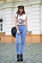 black Choies hat - black Choies sunglasses - white Poppy Lovers t-shirt