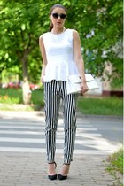 black SwayChic sunglasses - white custom made top - black Zara heels