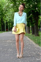 white nissa necklace - light blue Sheinside shirt - light yellow c&a purse