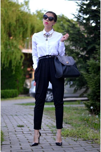 white Zara shirt - black Magazin Up pants - black Zara pumps