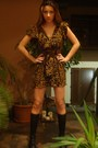 Brown-custom-made-dress-gray-h-m-vest-black-mango-socks-black-zara-shoes-