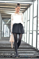white Choies blouse - light pink Choies bag - black Mango shorts