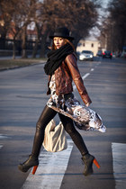 brown my own design dress - black Jeffrey Campbell boots - black H&M hat