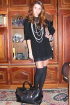 black Mango dress - black H&M shirt - black italian purse - black Mango socks -