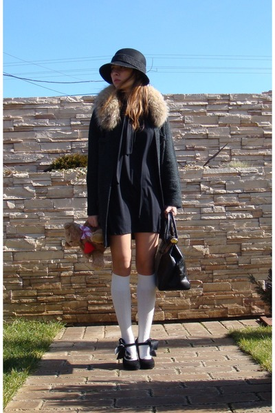 black Zara coat - black custom made dress - white Takko socks - gray vintage sca