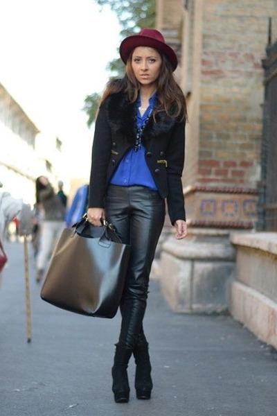 black Stradivarius jacket - black OASAP boots - crimson thrifted hat