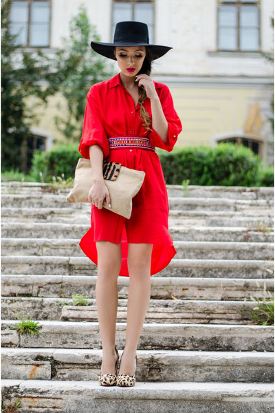 red Zara dress - black H&M hat - beige Outerinner pumps