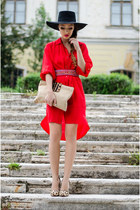 red Zara dress - black H&M hat - beige Outerinner pumps