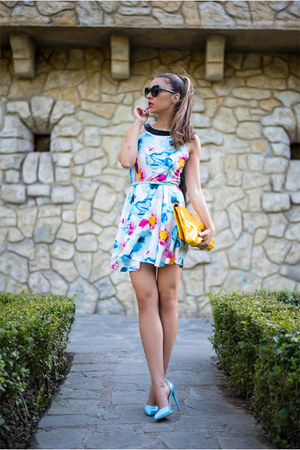 aquamarine shein dress - yellow bag - sky blue pumps