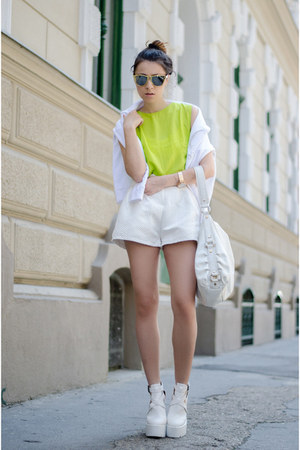 white Lamoda UK shoes - white Zara bag - white OASAP shorts