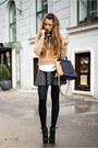 Brown-sweater-gray-skirt