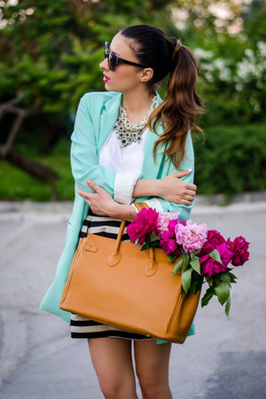white OASAP necklace - aquamarine Sheinside blazer - black dior sunglasses