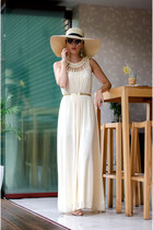 cream Mart of China dress - cream H&M hat