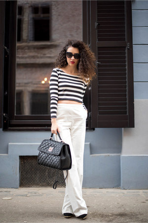 black OASAP top - white kurtmann pants