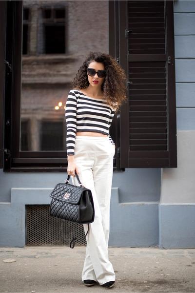 black OASAP top - white kurtmann pants