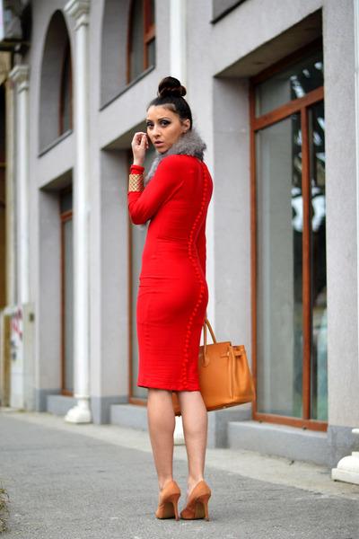 red DT dress