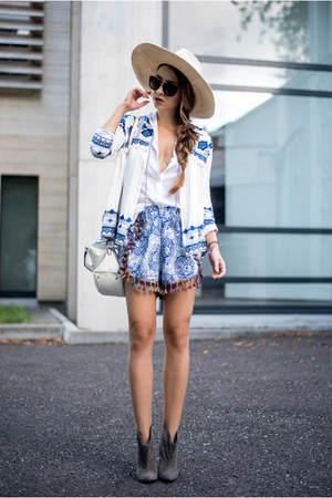 white Choies jacket - gray Mono Shoes boots - blue Choies shorts
