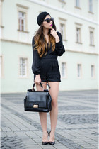 black turban Choies hat - black Choies romper - black Zara pumps